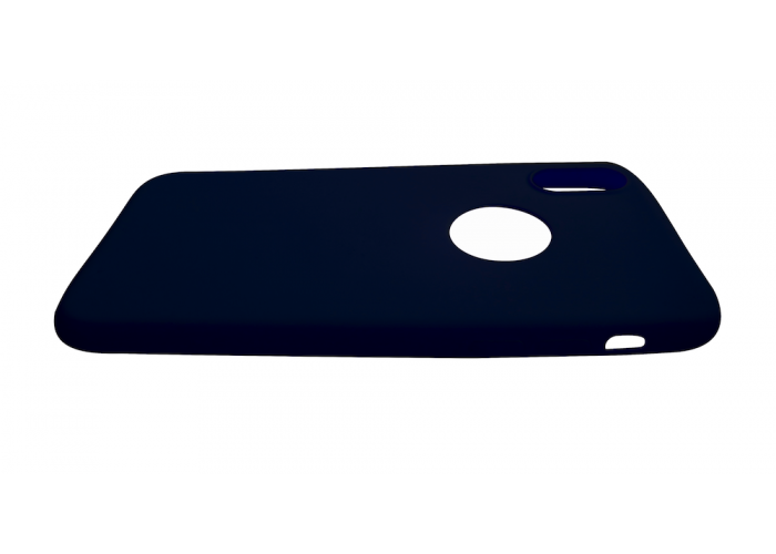 Силиконовый чехол на iPhone X/10 с вырезом под яблоко (Темно-синий)