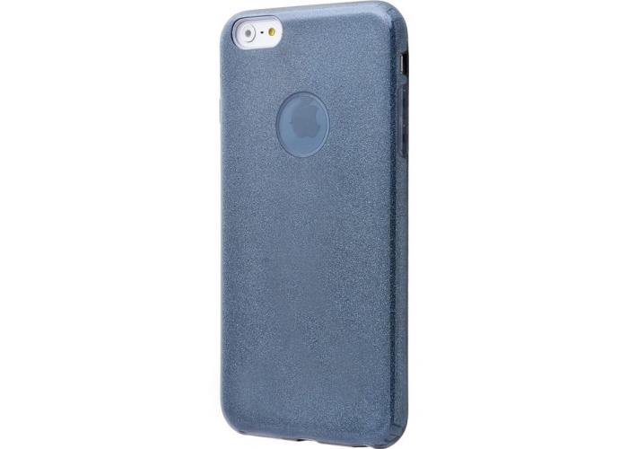 Черный силиконовый чехол с блестками и вырезом под яблоко для iPhone 6/6s
