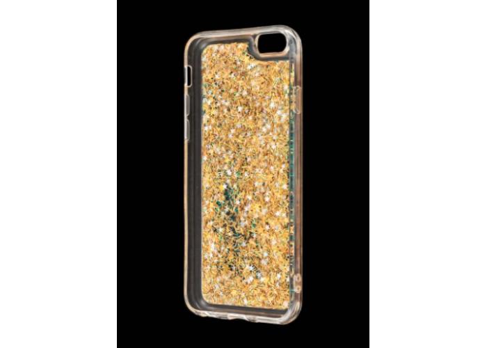 Чехол для iPhone 6/6s блестки вода золотистый