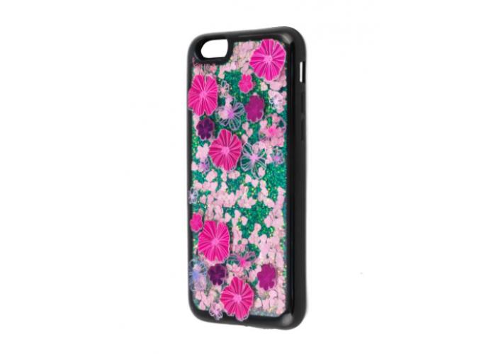 Чехол для iPhone 6/6s блестки вода розовые цветы