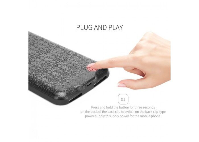 Чехол для iPhone 6/6s Baseus Plaid Backpack Power Bank Case 2500 mAh черный