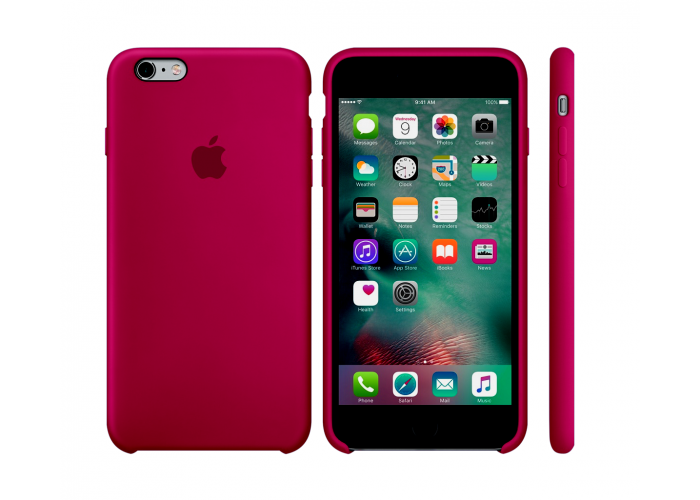 Силиконовый чехол Apple Silicon Case Rose Red для iPhone 6 Plus/6s Plus (копия)