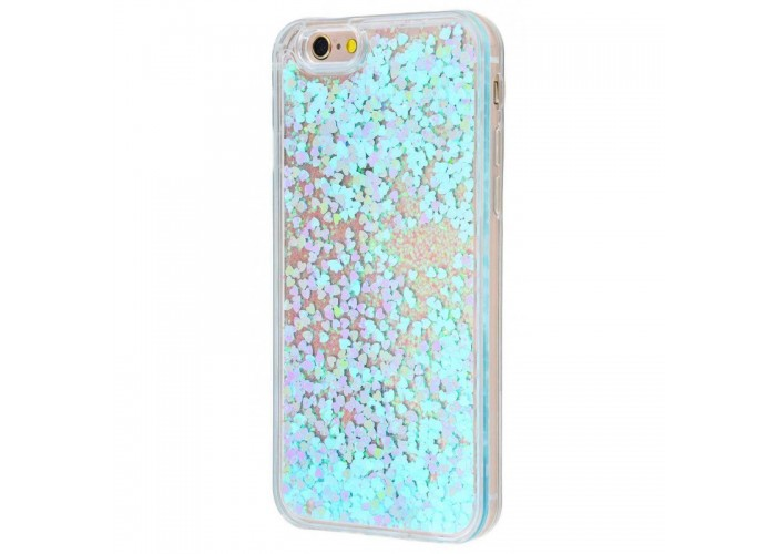 Чехол для iPhone 6/6s блестки вода голубой