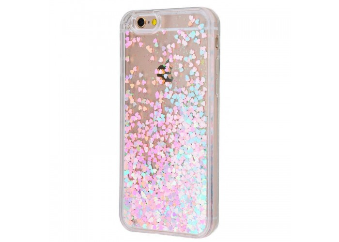 Чехол для iPhone 6/6s блестки вода розово-голубой