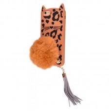 Чехол для iPhone 6/6s Leopard Cat pompon (коричневый)