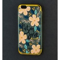 Чехол для iPhone 6/6s Put on love (с золотистой окантовкой)