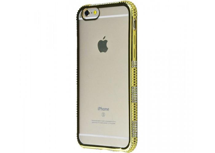 Силиконовый чехол для iPhone 6/6s хромированный с камнями золото