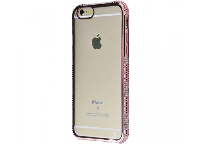 Силиконовый чехол для iPhone 6/6s хромированный с камнями розовый