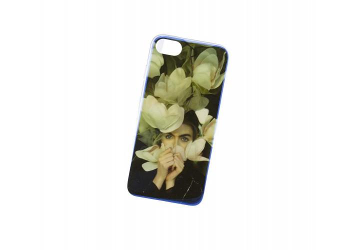 Чехол для iPhone 7/8 перламутр девушка и цветы