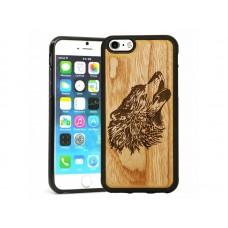 """Чехол для iPhone WoodBox из натурального дерева """"Волк"""""""