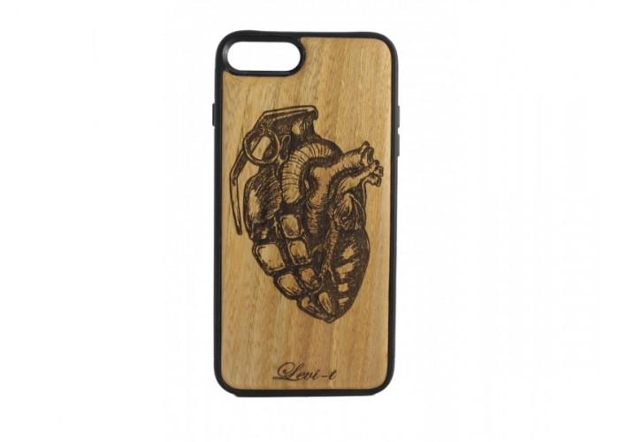 """Чехол для iPhone WoodBox из натурального дерева """"Граната Симбиоз"""""""