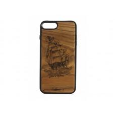 """Чехол для iPhone WoodBox из натурального дерева """"Парусник"""""""