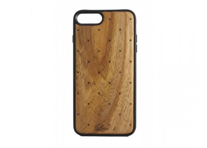 """Чехол для iPhone WoodBox из натурального дерева """"Сердечка"""""""