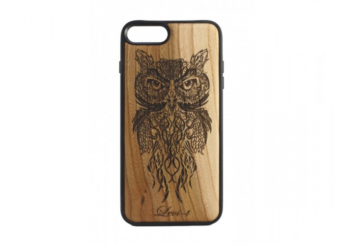 """Чехол для iPhone WoodBox из натурального дерева """"Cова Пугач"""""""