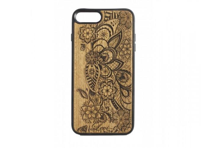 """Чехол для iPhone WoodBox из натурального дерева """"Цветы Чарующего Леса"""""""