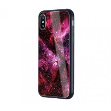 Чехол для iPhone X Glossy Galaxy красный