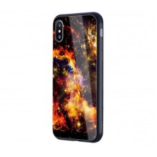 Чехол для iPhone X / Xs Glossy Galaxy желтый