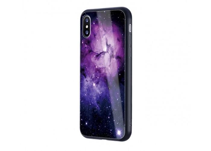 Чехол для iPhone X Glossy Galaxy фиолетовый