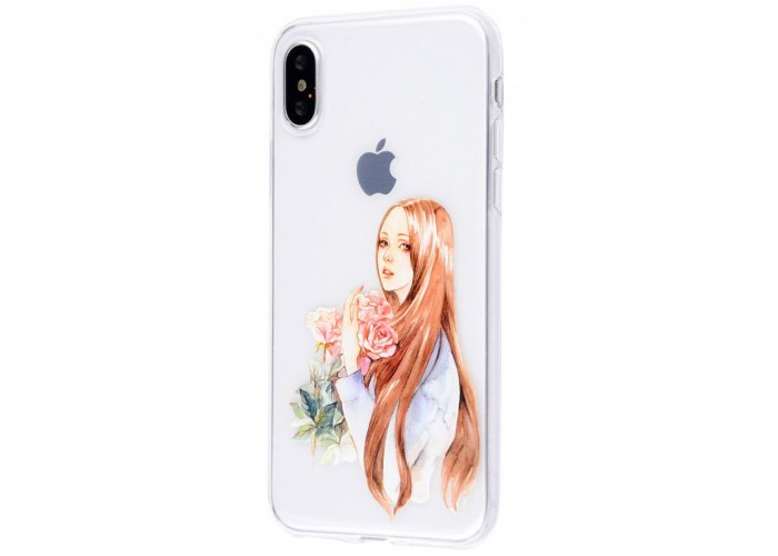 Чехол для iPhone X / Xs девушка с цветами
