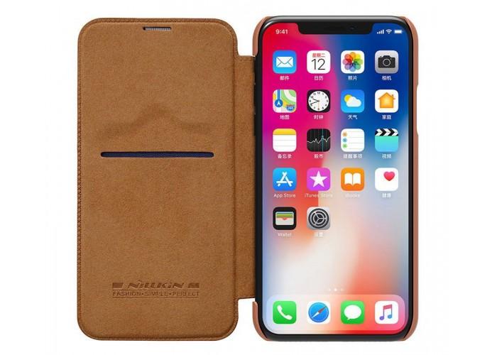 Чехол-книжка для iPhone X Nillkin Qin коричневый