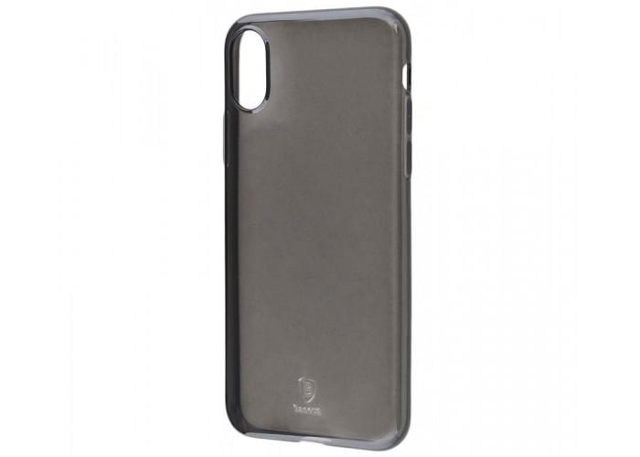 Чехол для iPhone X Baseus Simple (TPU) полупрозрачный черный