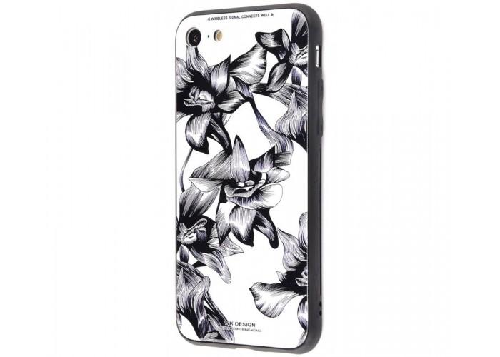 Чехол для iPhone 6 Plus/6s Plus White Knight Pictures Glass черно-белые цветы