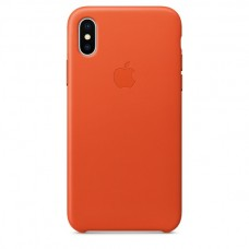 Apple Leather Case Bright Orange для iPhone X