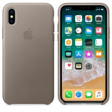 Кожаный чехол Apple Leather Case Taupe для iPhone X / Xs