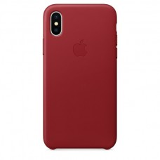 Кожаный чехол Apple Leather Case (PRODUCT)RED для iPhone X / Xs