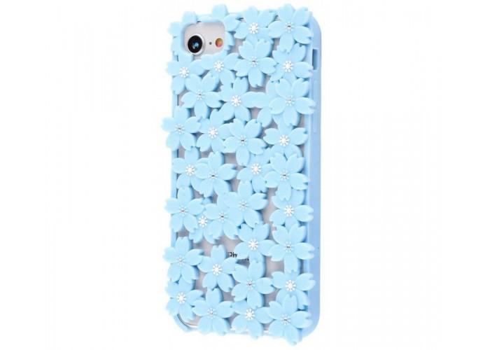 Чехол 3D для iPhone 6/6s/7/8 цветы голубой