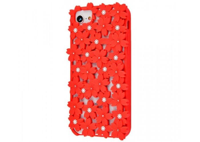 Чехол 3D для iPhone 6/6s/7/8 цветы красный