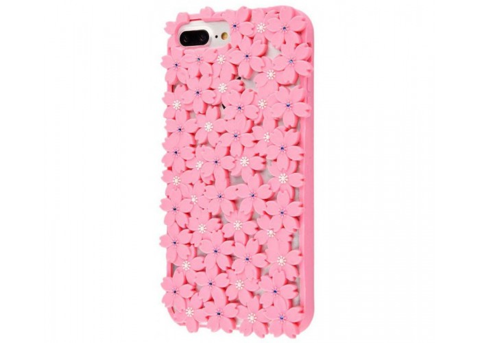 Чехол 3D для iPhone 6/6s/7/8 цветы розовый