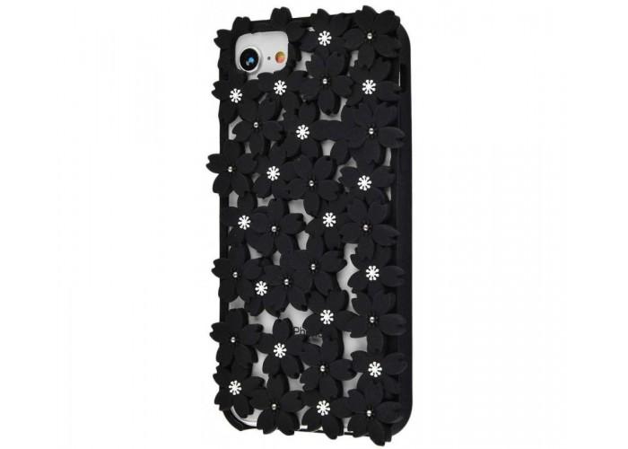 Чехол 3D для iPhone 6/6s/7/8 цветы черный