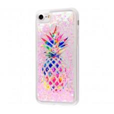 Чехол для iPhone 7/8 блестки вода New ананас