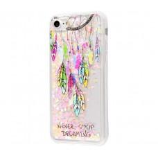 Чехол для iPhone 7/8 блестки вода New розовый амулет