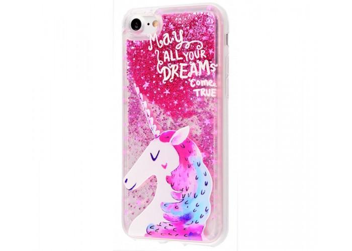 Чехол для iPhone 7/8 блестки вода New розовый единорог