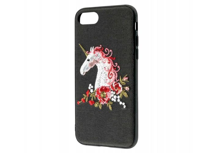 Чехол для iPhone 7/8 Embroider черный единорог