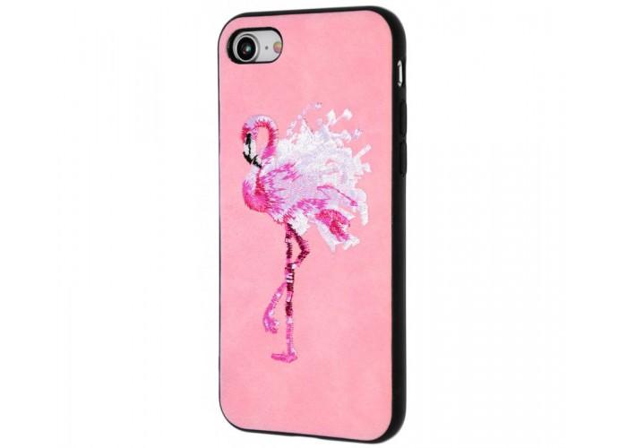 Чехол для iPhone 7/8 Embroider Animals Soft фламинго