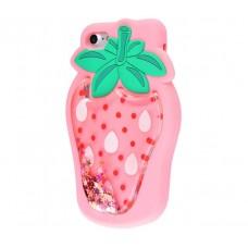 Чехол для iPhone 7/8 клубничка розовая с блестками