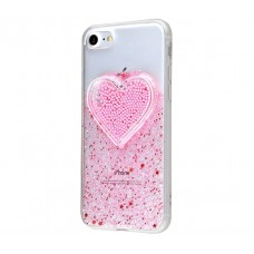 Чехол для iPhone 7/8 Diamond Hearts розовый