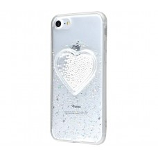 Чехол для iPhone 7/8 Diamond Hearts серебряный