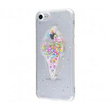 Чехол для iPhone 7/8 Diamond Hearts Ice Cream прозрачный