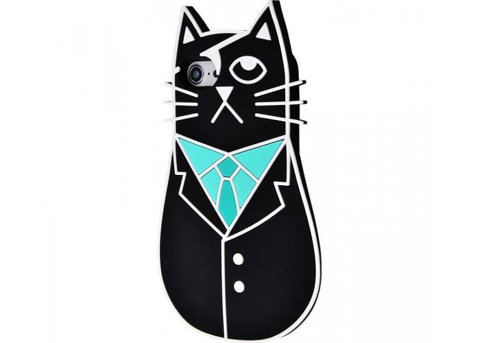Чехол для iPhone 7/8 кот пират черный