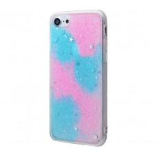 Чехол для iPhone 7/8 блестки градиент голубой/розовый