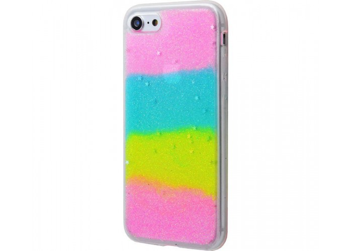 Чехол для iPhone 7/8 блестки градиент разноцетный