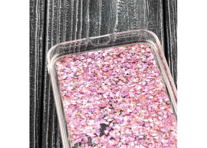 Чехол для iPhone X / Xs блестки вода розовый