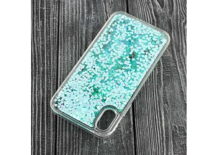 Чехол для iPhone X блестки вода бирюзовый