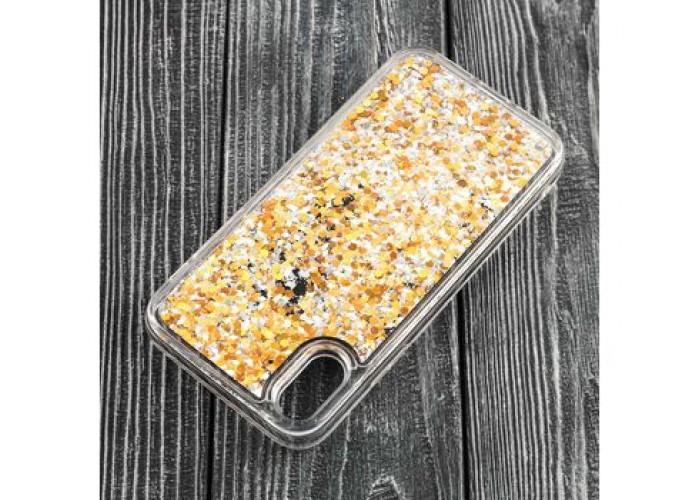 Чехол для iPhone X / Xs блестки вода золотистый