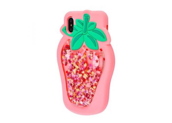 Чехол для iPhone X / Xs клубничка розовый с блестками