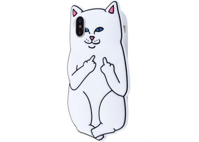 Чехол для iPhone X / Xs Cat Fakk Ripndip белый